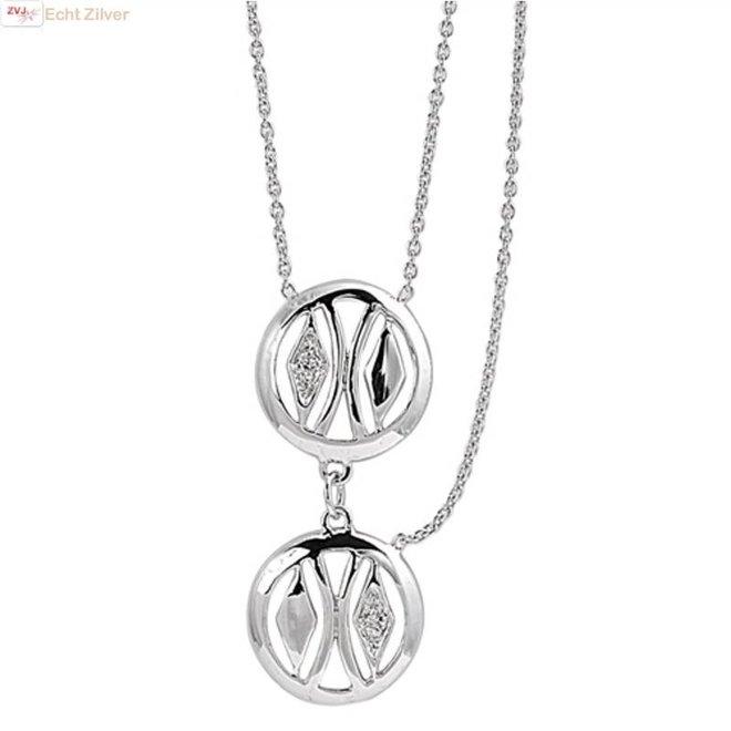 Zilveren collier met 2 cirkels en extra halve ketting