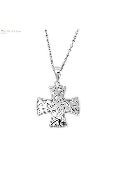 Zilveren collier Croix Pattée kruis