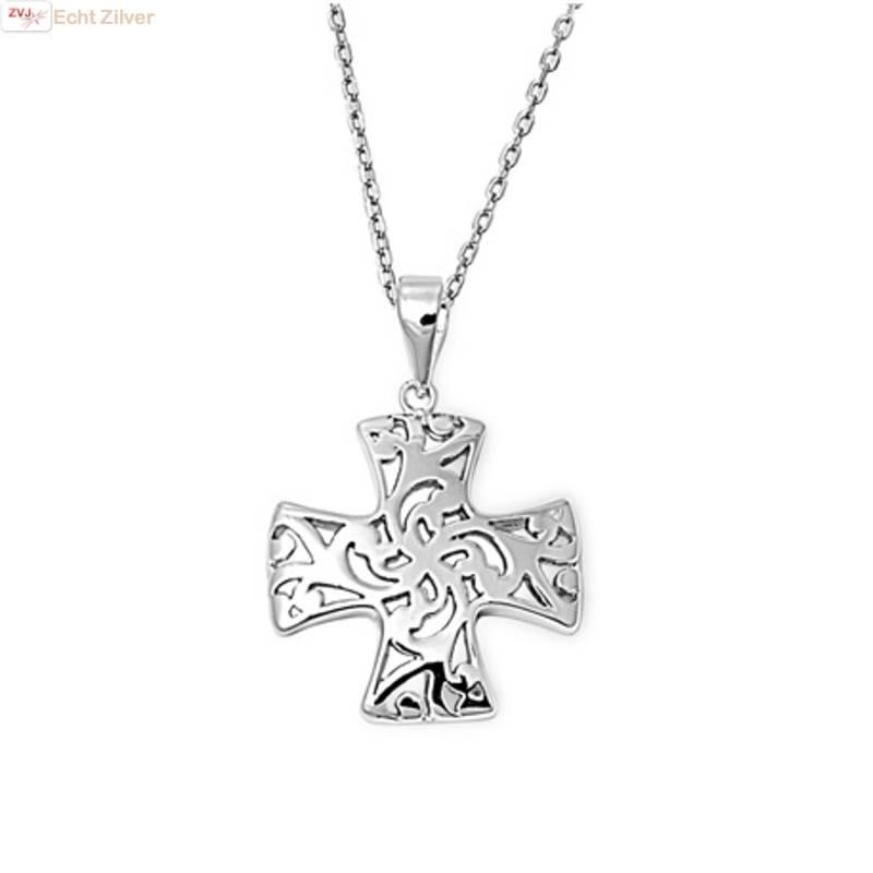 Zilveren collier Croix Pattée kruis-1