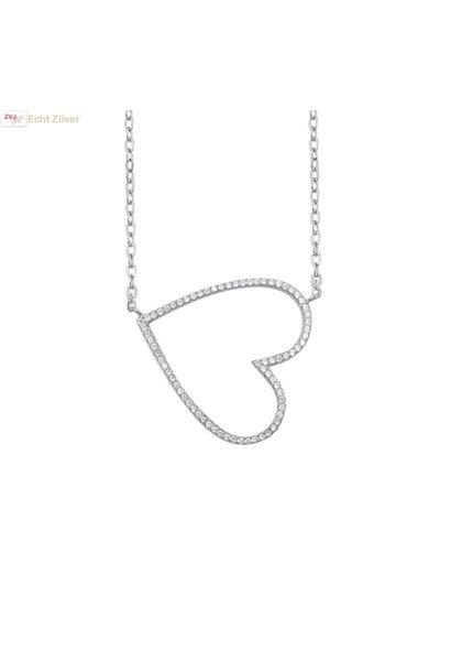 Zilveren collier design open hart witte zirkoon