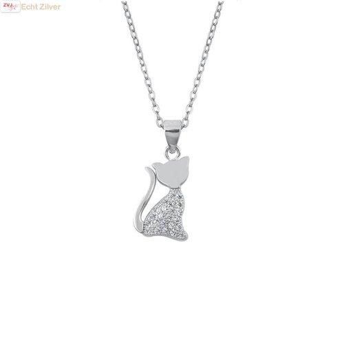 ZilverVoorJou Zilveren collier poes kat witte zirkoon