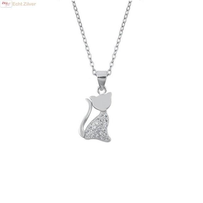 Zilveren collier poes kat witte zirkoon