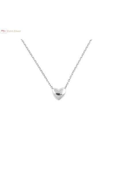 Zilveren collier mini hart