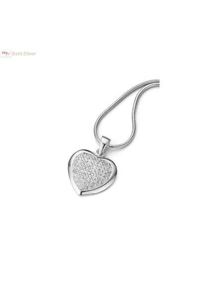 Zilveren collier hart witte pave zirkoon zetting