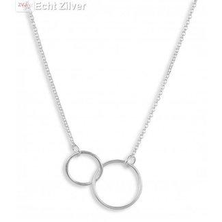 ZilverVoorJou Zilveren 2 cirkels collier