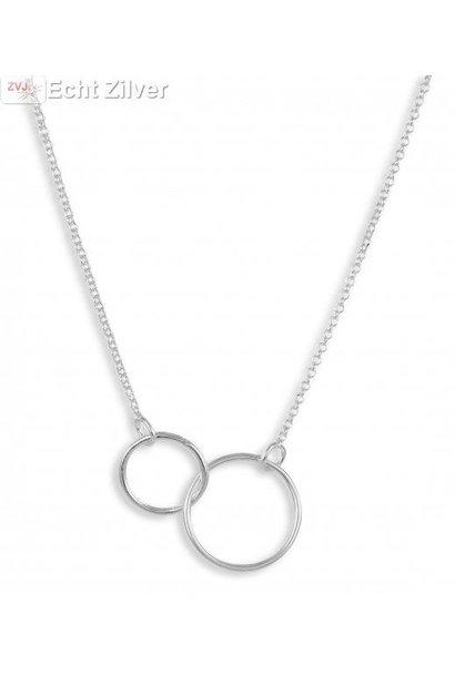 Zilveren 2 cirkels collier