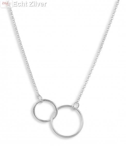 Zilveren 2 cirkels collier-1