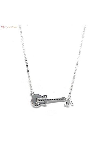 Zilveren gitaar met muzieknoten collier