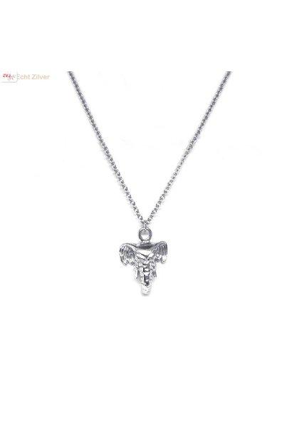 Zilveren olifant collier