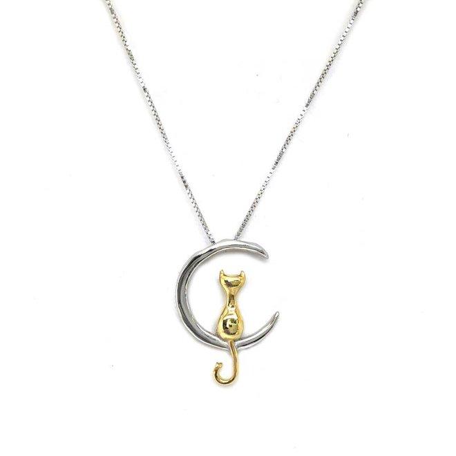 Zilveren zittende gouden poes op halve maan collier
