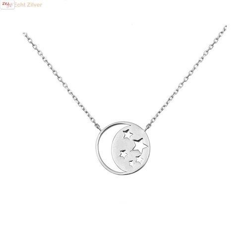 ZilverVoorJou Zilveren collier ronde hanger met maan en sterren