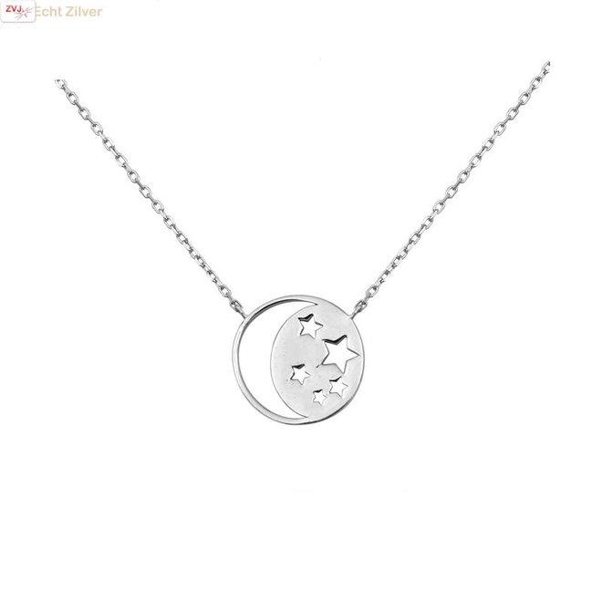 Zilveren collier ronde hanger met maan en sterren