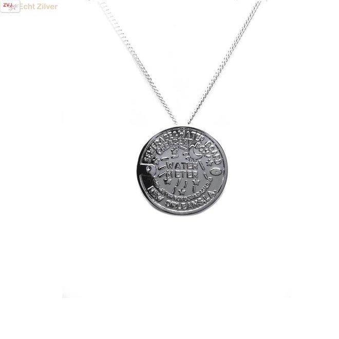 Zilveren Water Meter New Orleans coin kettinghanger