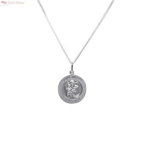 ZilverVoorJou Zilveren saint Joseph coin kettinghanger