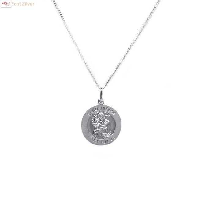 Zilveren saint Joseph coin kettinghanger