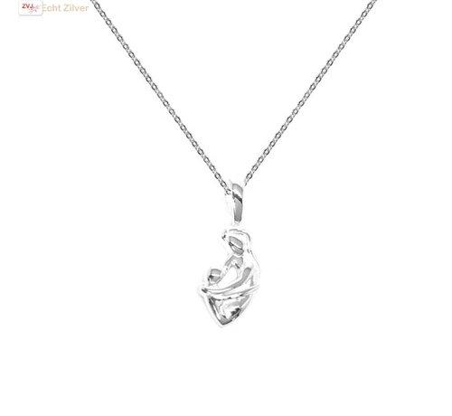ZilverVoorJou Zilveren fijn collier met moeder kind hanger