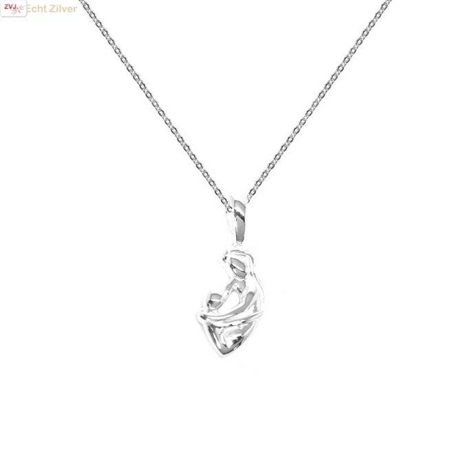 Zilveren fijn collier met moeder kind hanger