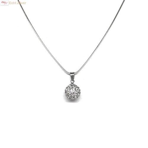 ZilverVoorJou Zilveren slangencollier met kristal bling bal