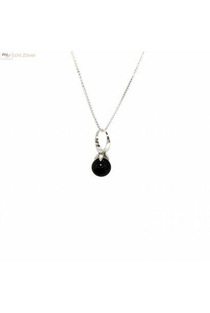 Zilveren zwarte onyx kettinghanger