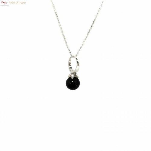 ZilverVoorJou Zilveren zwarte onyx kettinghanger