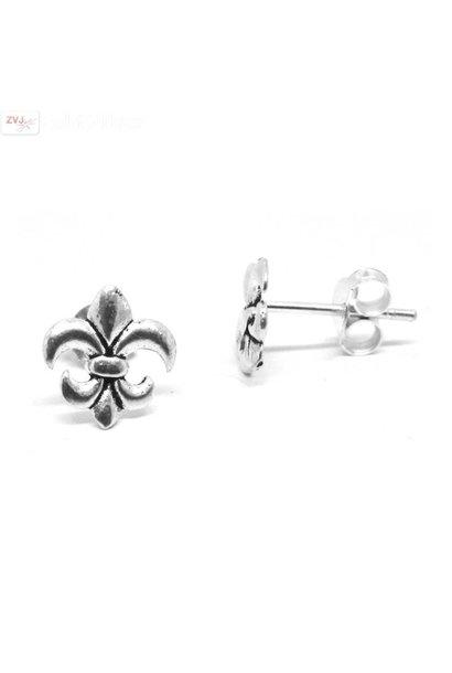 Zilveren kleine fleur de lis oorstekers