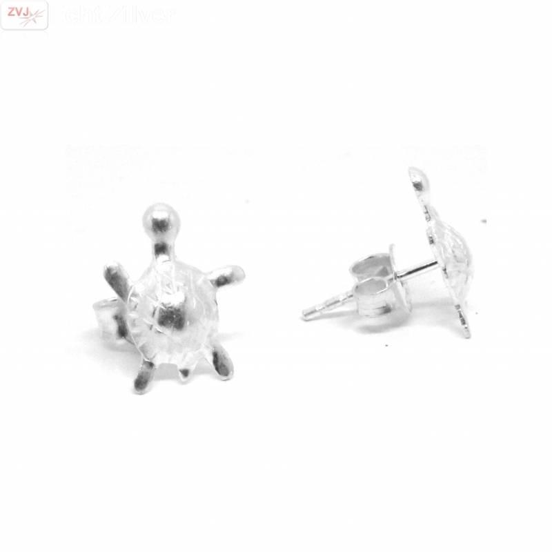 Zilveren kleine turtle schildpad oorstekers-1