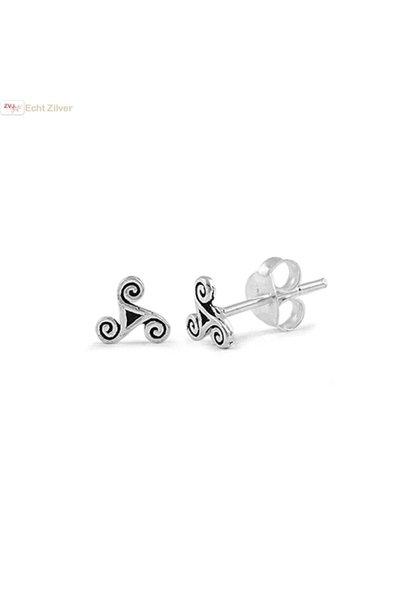 Zilveren keltische mini tribal oorstekers