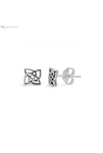 Zilveren keltische mini oorstekers