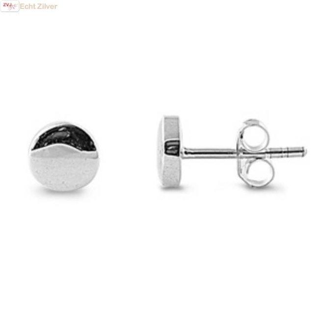 Zilveren kleine ronde cirkel oorstekers
