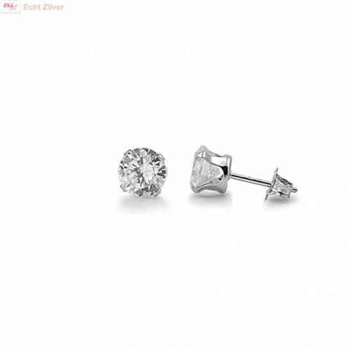 ZilverVoorJou Zilveren mini oorstekers 4 mm witte zirkoon