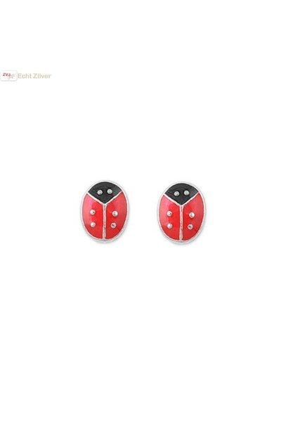 Zilveren mini oorstekers lieveheersbeestje