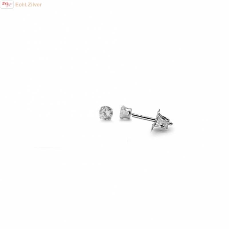 Zilveren mini oorstekers 2 mm witte zirkoon-1