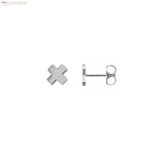 ZilverVoorJou Zilveren mini kruis cross oorstekers