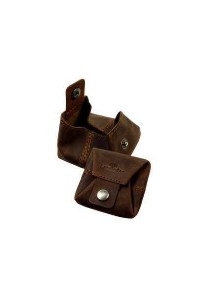 Landleder bruin leren mini box portemonnee