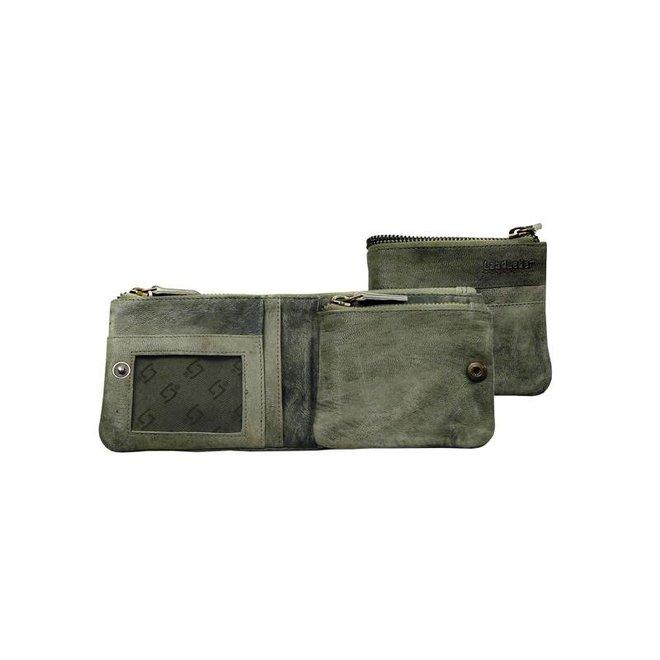 LandLeder groen geitenleren multiwallet portemonnee