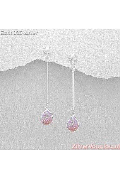 Zilveren strakke roze opaal oorstekers, hangers