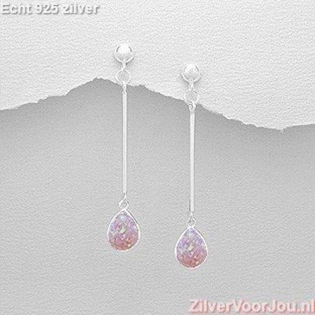 ZilverVoorJou Zilveren strakke roze opaal oorstekers, hangers