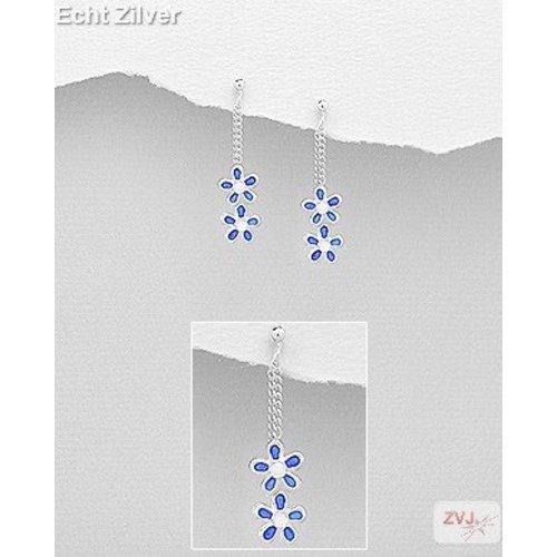 ZilverVoorJou Zilveren kinder oorhangers stekers blauwe bloemetjes