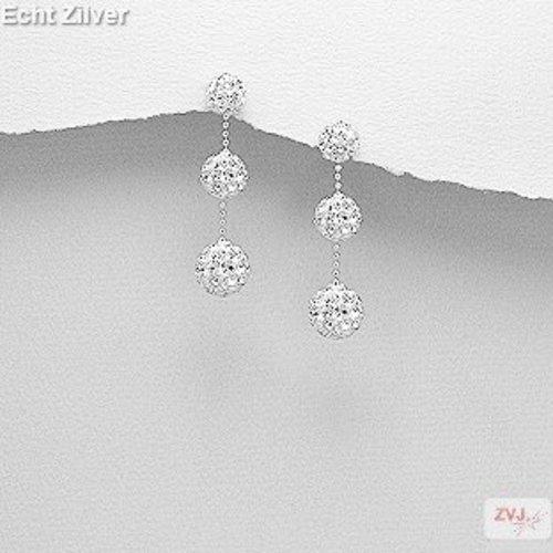 ZilverVoorJou Zilveren 3 witte kristal balletjes oorstekers, bling