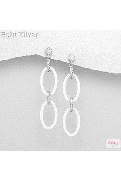 Zilveren luxe witte keramiek oorhangers