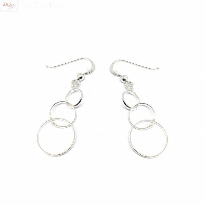 Zilveren 3 cirkels link oorhangers