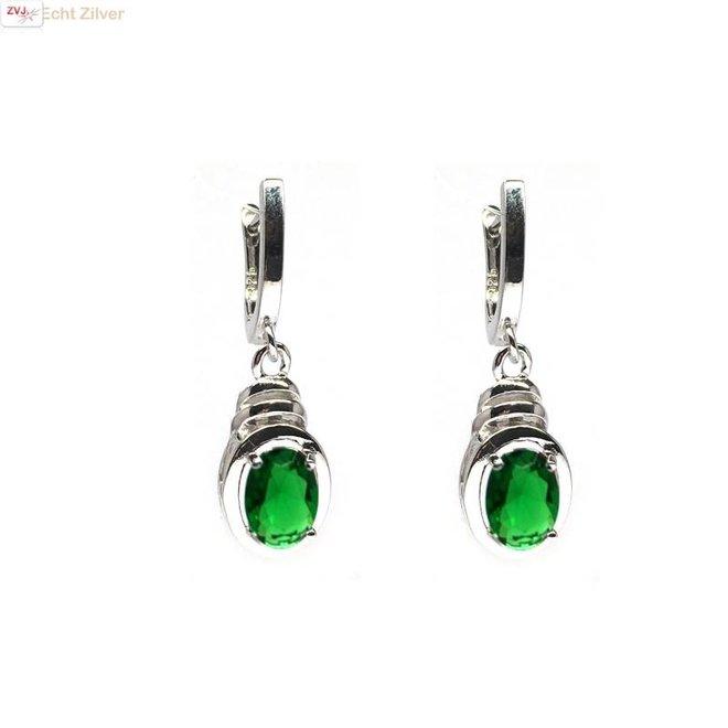 Zilveren groene cz oorhangers omega lock sluiting