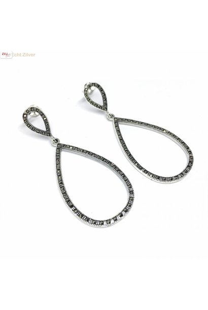 Zilveren markasiet ovale oorhangers