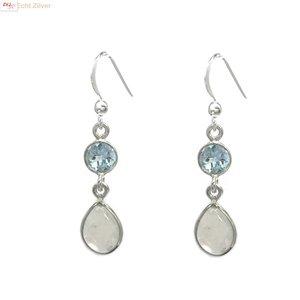 ZilverVoorJou Zilveren blauwe topaas regenboog maansteen oorhangers