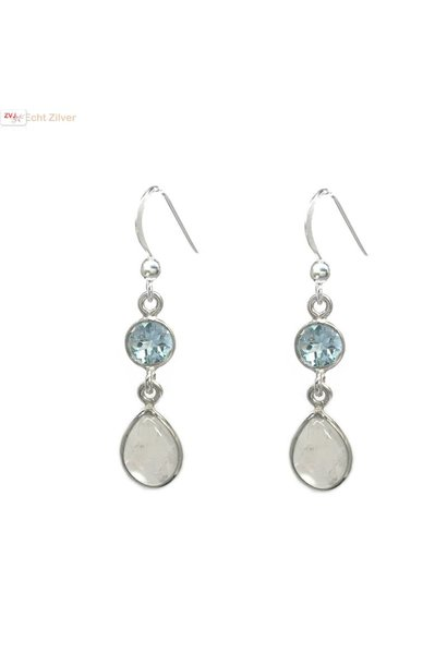 Zilveren blauwe topaas regenboog maansteen oorhangers