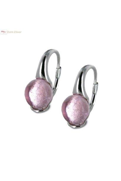 Zilveren roze glassteen 0,8 cm oorhangers New Bling