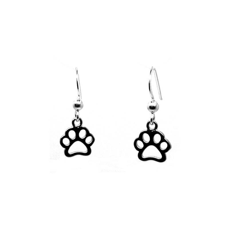 Zilveren honden katten pootjes oorhangers-1