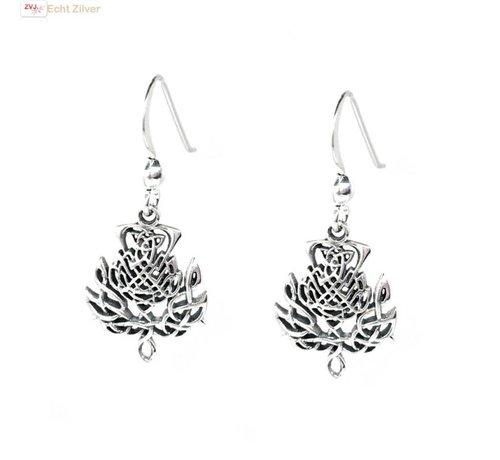 ZilverVoorJou Zilveren Keltische distel bloem oorbellen