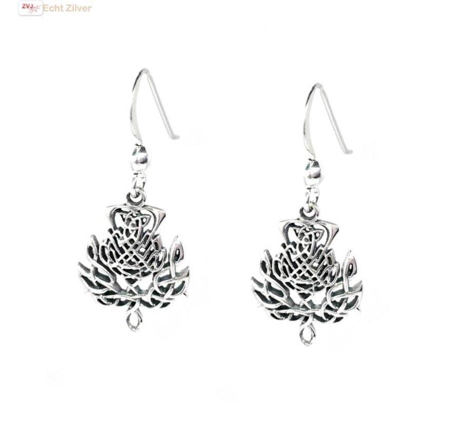 Zilveren Keltische distel bloem oorbellen