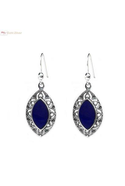 Zilveren sier oorbellen met lapis lazuli blauwe steen